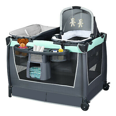 £115.49 • Buy 4-in-1 Foldable Infant Crib Baby Travel Cot Toddler Bassinet Bed Changing Table