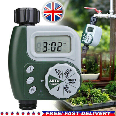 UK Automatic Watering Timer Irrigation Hose Garden Water Controller Programmable • 18.59£