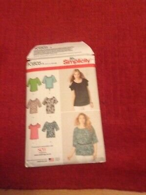 Simplicity K1805 Ladies Top Shirt Blouse Sleeves PLUS Loose New Uncut Pattern • 3£