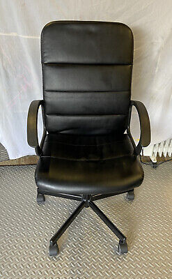 Ikea Black Cudhioned Office Chair Adjustsble Height, Swivels And Has Wheels • 10£