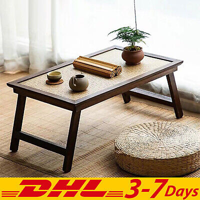 Wooden Japanese Folding Table Bamboo Desk Handmade Vintage Home Decor Rectangle • 193.48£