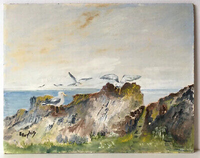 English Sea Cliff & Seagulls- Vintage Original Impressionism Oil Painting Board • 40£