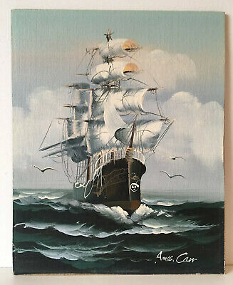 Nautical Ship At Sea Navy Original Oil Painting On Board Signed • 20£