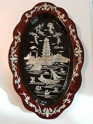 Vintage Japanese Lacquered Mother Of Pear Plaque Tray  • 25£