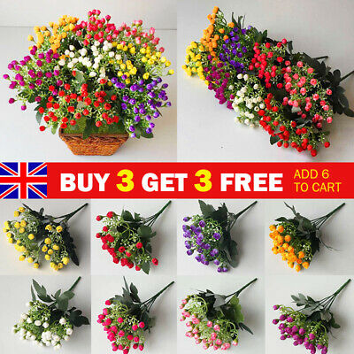 £2.95 • Buy 36 Heads Artificial Silk Flowers Bunch Wedding Home Grave Outdoor Bouquet UK