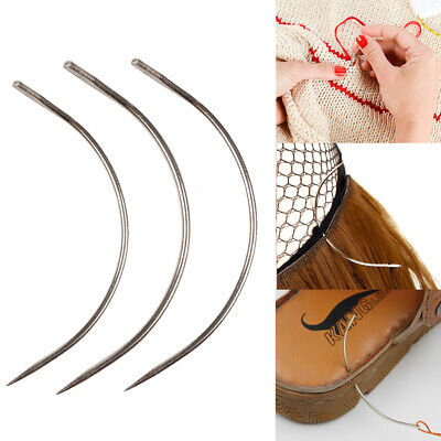 £1.99 • Buy 3XCurved Needles Threader Sewing/Weaving Needles Human Hair Extension Wig Making
