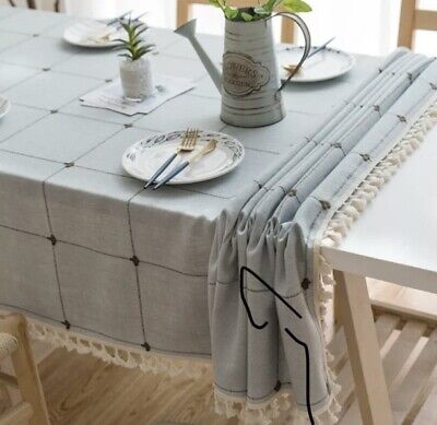 UK Cotton Linen Plaid Tablecloth With Tassel Rectangle Table Cloth Dust Cover • 6£