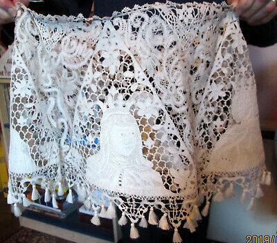 Hand Lace Antique Lampshade,  Figurative And Tape Lace. • 65£