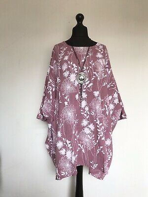 New MADE IN ITALY LAGENLOOK Pink Dandelion Print Oversized Tunic - 18 20 22 24  • 21.99£
