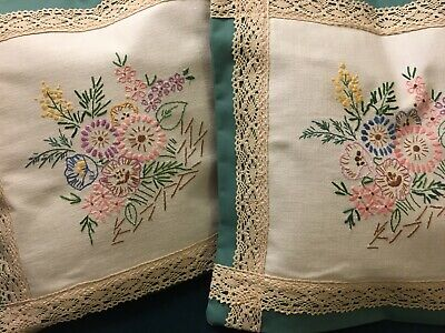 Cushion Covers (2) Handmade Vintage Country Floral Lace Green Embroidery • 11.50£