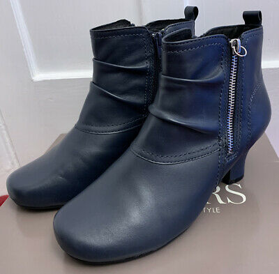 Pavers Ladies Leather Ankle Boots. Size UK5.5/EU38.5 Navy *Worn Once* • 40£