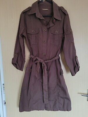 SUGARBEBE Brown Button Up Shirt Dress With Peacock Embroidery At Back Size 10 • 4£