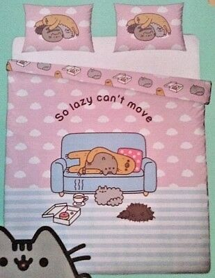 Pusheen Cat Sloth So Lazy Cant Move King Size Duvet Cover Set Reversible Bedding • 49.99£