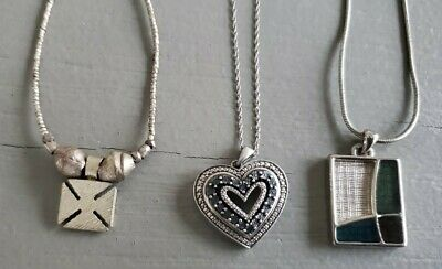$ CDN21.93 • Buy Lot 3 Silver Heart Geometric PENDANT Necklace LIA SOPHIA Metalic Beads Boho