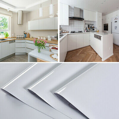 £13.95 • Buy 5/10M Glossy White Self Adhesive Vinyl Cupboard Door Cover Kitchen Cabinet Wrap