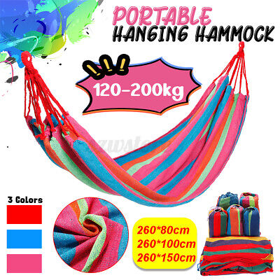 Outdoor Portable Hanging Hammock Swing Rope Chair Canva Travel Tree Strap Bed UK • 11.65£