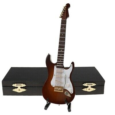 $ CDN13.93 • Buy Wooden Miniature Electric Guitar With Stand And Case Mini Musical InstrumentE2W9