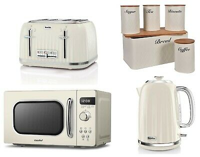 £249.99 • Buy Cream Set Breville 4 Slice Toaster & Kettle With Microwave Oven COMFEE' Storage