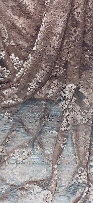 £9.99 • Buy Dusty Pink Floral Chantilly Lace Fabric 58'' PRICE PER METER