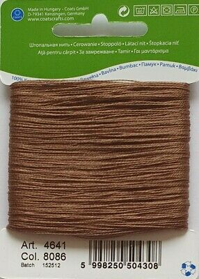 £1.75 • Buy MID BROWN COATS 100% COTTON Thread For Hand Sewing Darning & Mending - 20 Metres