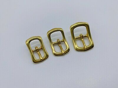 £3.49 • Buy Mini Size Solid Brass Centre Bar Belt Buckle Leather Craft Hardware -select Size