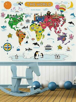 Childrens Animal World Map Wall Sticker / Decal For Room Wall Furniture. SALE  • 3.99£