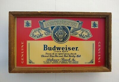 $ CDN50.49 • Buy Vintage 1976 Budweiser Lighted Sign, Wood W Switch On Top.  Hard Wire Electric