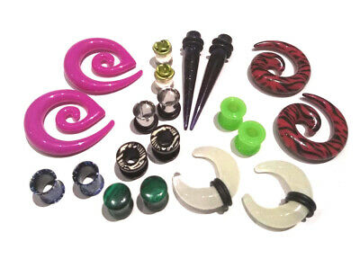 $15.99 • Buy 8 Pair Mix Ear Plugs Tapers Spirals Tunnels Acrylic Steel Organic Gauges 8g-5/8
