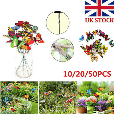 10/20/50Pack Colorful Garden Butterflies Stakes Patio Flowerpot Ornaments Decor • 3.88£