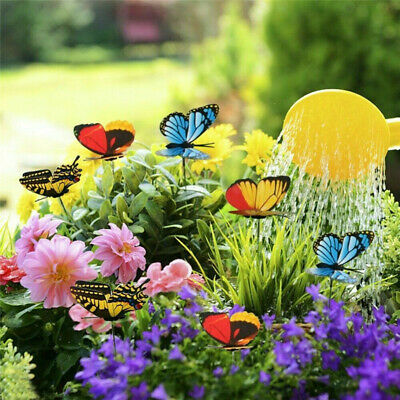 50pcs Colorful Garden Butterflies Stakes Patio Home Ornaments On Sticks Lawn • 10.21£