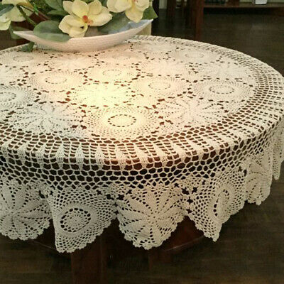 AU61.19 • Buy Round Vintage Crochet Lace Tablecloth Dining Table Cover Wedding Party 150cm
