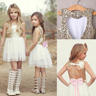 £8.99 • Buy Kids Sequins Baby Flower Girl Dress Bow Backless Party Gown Bridesmaid Dresses