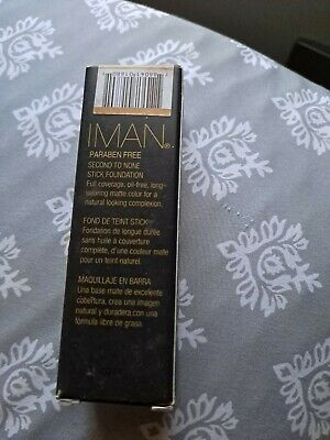 IMAN PARABEN FREE SECOND TO NONE STICK FOUNDATION, Full Coverage, Oil Free . • 6.37£