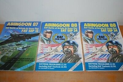 £8 • Buy Joblot Of 3 Abingdon Air Show Programmes 1987 + 2 X 1988 With Site Pull Outs