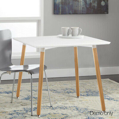 AU123.89 • Buy Square Dining Table Kitchen Home Solid Wood Four Leg White Simple 80x80x75cm