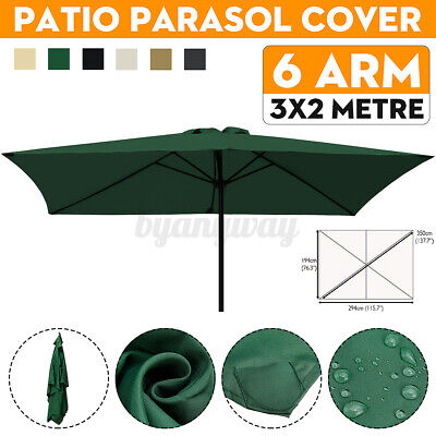 3x2m 6 Arm Replacement Fabric Garden Parasol Canopy Cover Waterproof UV Protect • 28.87£