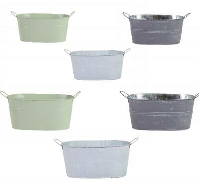 Retro Oval Galvanised Zinc Metal Plant Flower Planter Pot With Metal Handle • 5.49£