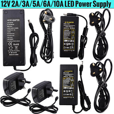 £4.99 • Buy AC/DC 12V 2A 3A 5A 6A 10A Power Supply Adapter Charger 24W-120W For LED Light