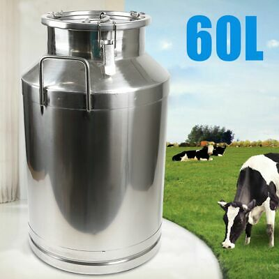 $131 • Buy 60L Stainless Steel Milk Cans Pail Bucket Jug Oil Barrel Canister Silicone Seal