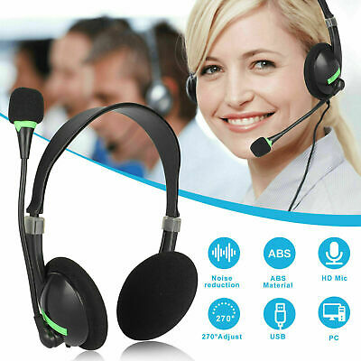 USB Noise Headphones With Microphone Cancelling Headset For Skype Laptop NEW UK • 7.99£