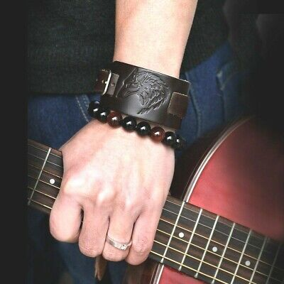 Mens Viking Vintage Brown/Black Wide Leather Wolf/Wolfs Head Rock Biker Bracelet • 7.95£