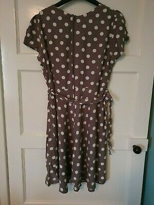 Wallis Size 18 Fitted Polka Dot Dress With Tie • 3£