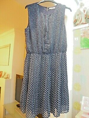 Blue And White Polka Dot Pleated Skirt  Dress By Peacocks Size 18 BNWOT • 4.99£