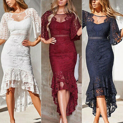 Lace Fishtail Midi Dress Women Bodycon Party Cocktail Ball Gown High Low Dresses • 17.19£