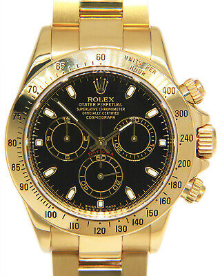 $ CDN44811.63 • Buy Rolex Daytona Chronograph 18k Yellow Gold Black Dial Mens 40mm Watch B/P 116528