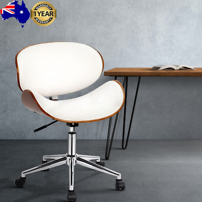 AU112.34 • Buy Artiss Wooden & PU Leather Office Desk Chair - White