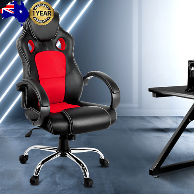 AU121.94 • Buy Racing Style PU Leather Office Desk Chair - Red