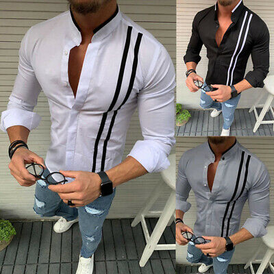£12.58 • Buy Mens Casual Formal Slim Fit Shirt Stand Collared Long Sleeve Button Shirts Tops