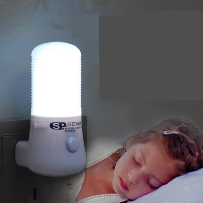 Wall Socket Lamp 1W Night Light 6LED Super Bright EU Plug 110-220V White Light • 0.89£