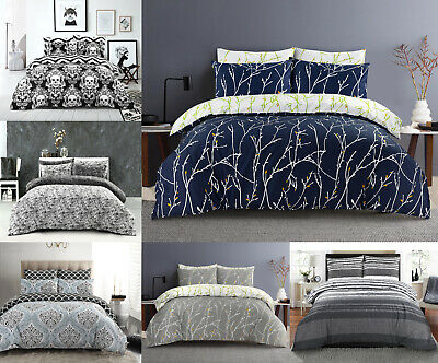 £16.99 • Buy Printed Duvet Cover Set 100% Egyptian Cotton Quilt Bedding Sets Double King Size